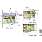 24.7坪の4DKの三階建て狭小住宅