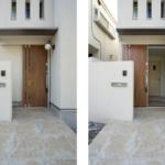 玄関は引き戸を採用。一般の玄関ドアよりも開閉に要するスペースが省スペースで済みます。これも狭小住宅の工夫の一つですね。