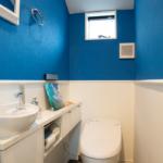 トイレその1。このスカイブルーが素敵です。白との対比で雲と空。まるで天にいる心地。